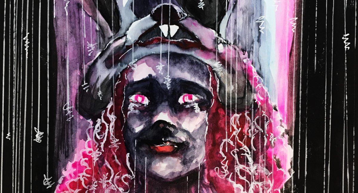 "Self Portrait- ""Midnight Fury"" Aquarelle and mixed media. Size 37cm x 47cm"